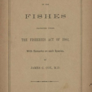 An alphabetical list of the fishes protected under the Fisheries Act of 1902, with remarks on each species