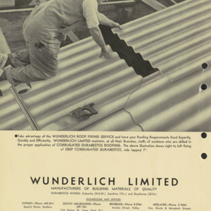 Wunderlich corrugated durabestos : asbestos cement-roofing and wall-siding