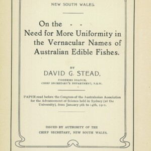 On the need for more uniformity in the vernacular names of Australian edible fishes