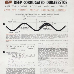 "New deep corrugated ""durabestos"" : asbestos-cement roofing and wall-siding : the new ""nesting profile"" corrugated sheeting"