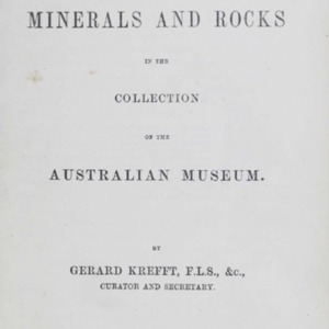 Catalogue of the minerals and rocks in the collection of the Australian Museum