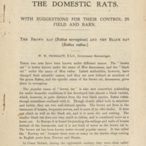 The domestic rats : with suggestions for their control in field and barn = the brown rat (Rattus norvegicus) and the black rat (Rattus rattus)