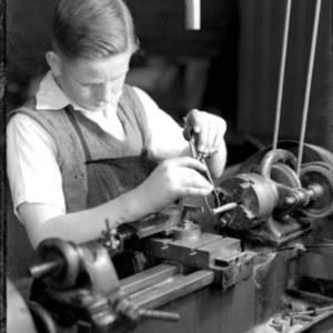 Student working at machine