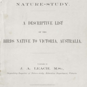 A descriptive list of the birds native to Victoria, Australia, 1900