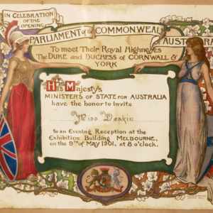 Invitation to Miss Deakin to celebrate the opening of the Parliament of the Commonwealth of Australia
