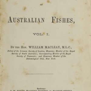 Descriptive catalogue of Australian fishes