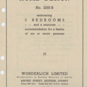 """Wunderlich """"Durabestos"""" home design no. 2265B embracing 3 bedrooms and a sunroom, accomodation for a family of six or more persons"""