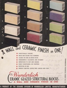 Wunderlich ceramic glazed structural blocks : a wall and ceramic finish in one