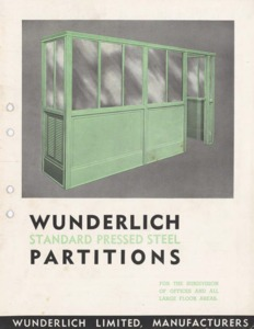 Wunderlich standard pressed steel partitions : for the subdivision of offices and all large floor areas